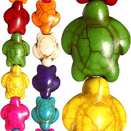 29pc 13x12x7mm Earth Stone Sea Turtle Spacer Mix Color JF1178