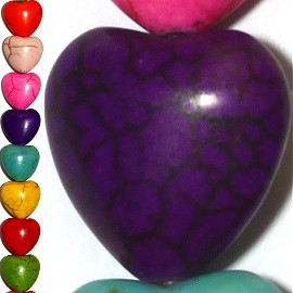 26pc 16x16x8mm Earth Stone Heart Spacer Mix Color JF1196