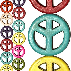 14pc 30x5mm Earth Stone Peace Sign Spacer Mix Color JF1217
