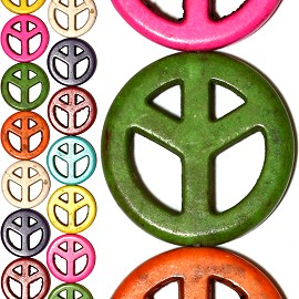 17pc 25x4mm Earth Stone Peace Sign Spacer Mix Color JF1218