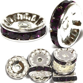 10pc 12mm Wheel Rhinestone Spacer Silver Dark Purple JF1299