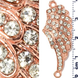 1pc Rhinestone Spacer Angel Wings 41x16x3mm Copper JF1301