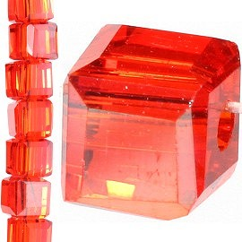 98pc 4mm Crystal Cube Bead Spacer Orange Gold Aura JF1307