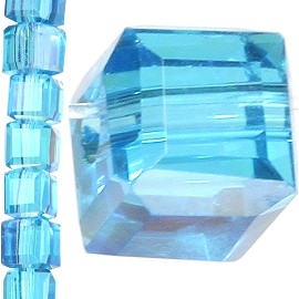 98pc 3mm Crystal Cube Bead Spacer Turquoise Mix Aura JF1310