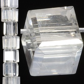 98pc 4mm Crystal Cube Bead Spacer Clear JF1319