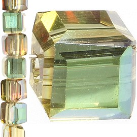 98pc 4mm Crystal Cube Bead Spacer Tan Teal Aura JF1325
