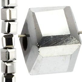 98pc 4mm Crystal Cube Bead Spacer Silver JF1340