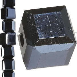 98pc 4mm Crystal Cube Bead Spacer Black Silver Aura JF1341