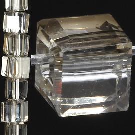 98pc 6mm Crystal Cube Bead Spacer Dark Clear JF1344