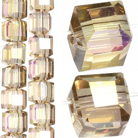 98pc 6mm Crystal Cube Bead Spacer Light Tan Gold Aura JF1346