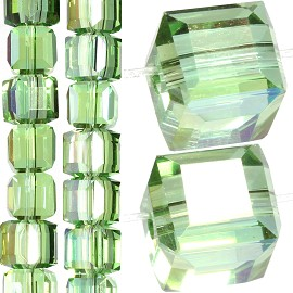 98pc 6mm Crystal Cube Bead Spacer Light Green Mix Aura JF1354