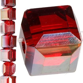 98pc 6mm Crystal Cube Bead Spacer Red Gold Aura JF1357
