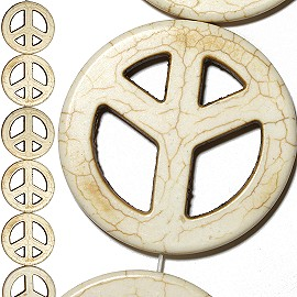8pc 50x5mm Peace Sign Earth Stone Spacer Cream White JF1382