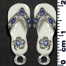 2pc Flip Flops Rhinestone Spacer Cream White JF1396