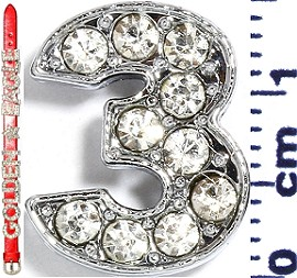 "Rhinestone Spacer 7/16"" Opening-Hole Number - 3 - Silver JF1419"