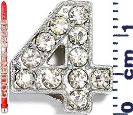 "Rhinestone Spacer 7/16"" Opening-Hole Number - 4 - Silver JF1420"