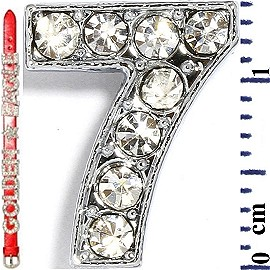 "Rhinestone Spacer 7/16"" Opening-Hole Number - 7 - Silver JF1423"