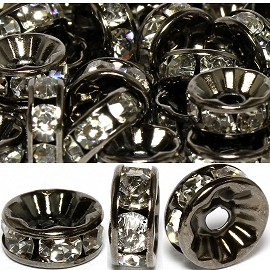 100pc 8mm Rondelles Rhinestone Spacer Silver Black JF1427