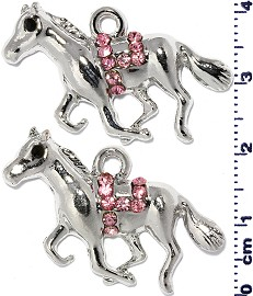 2pc Rhinestone Spacer Horse Silver Pink JF1472