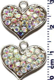 2pc Rhinestone Spacer Heart Silver Aura JF1480