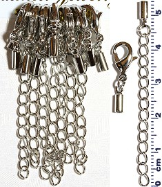 7 Pair End Clasp 1.5mm Converter, Chain Extension Silver JF1485