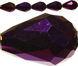 50pcs Crystal Tear Spacers 16x10mm Purple Dark Solid JF152