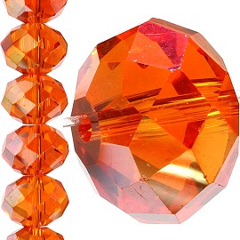 60pc 14mm Crystal Bead Spacer Orange Aura JF1527