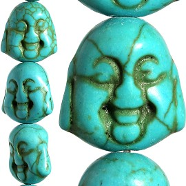 26pc 15x14x10mm Earth Stone Spacer Buddha Head Turquoise JF1597