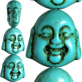 20pc 20x19x11mm Earth Stone Spacer Buddha Head Turquoise JF1598