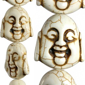 14pc 30x27x15mm Earth Stone Spacer Buddha Head Cream JF1599