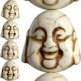 20pc 20x19x11mm Earth Stone Spacer Buddha Head Cream JF1600