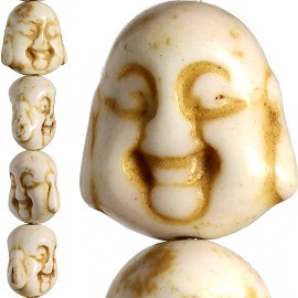 26pc 15x14x10mm Earth Stone Spacer Buddha Head Cream JF1601