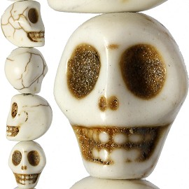 32pc 12x12x10mm Earth Stone Spacer Skull Head Cream JF1604