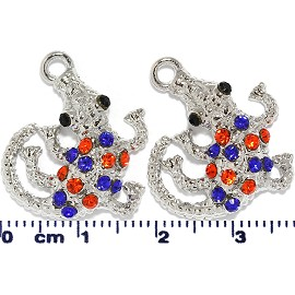 2pc Rhinestone Gator Spacer Blue Orange Dark Silver JF1619