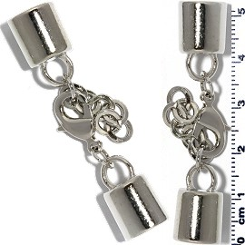 2 Pairs Clasp Converter Ends Chains Silver JF1621