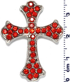 1pc Cross Rhinestone Spacer Red JF1622