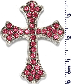1pc Cross Rhinestone Spacer Pink JF1623