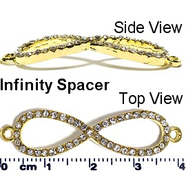 1pc Rhinestone Spacer Infinity Sign Gold JF1659