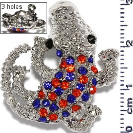 Spacer Rhinestone Gator 29x27x11mm Orange Blue JF1661