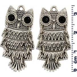 2pc Owl Spacer Jewelry Part Silver JF1664