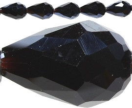 40pcs Crystal Teardrop Spacers 16x10mm Black JF167