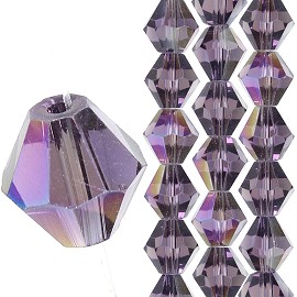 40pc 8mm Bicone Crystal Bead Spacers Purple Aura JF1693