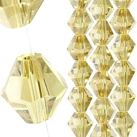 40pc 8mm Bicone Crystal Bead Spacers Light Yellow JF1699