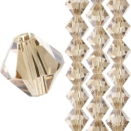 40pc 8mm Bicone Crystal Bead Spacers Light Tan JF1701