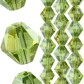 40pc 8mm Bicone Crystal Bead Spacers Apple Green JF1705