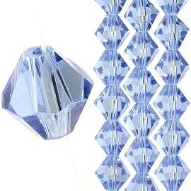40pc 8mm Bicone Crystal Bead Spacers Light Blue JF1708