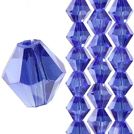 40pc 8mm Bicone Crystal Bead Spacers Blue JF1709