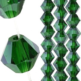 40pc 8mm Bicone Crystal Bead Spacers Dark Green JF1710