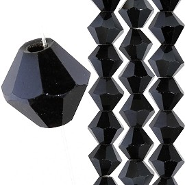 40pc 8mm Bicone Crystal Bead Spacers Black Aura JF1715