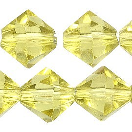 40pc 8mm Bicone Crystal Bead Spacers Pale Yellow JF1725